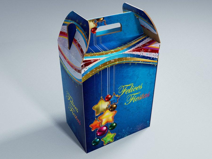 Cajas navideas de carton caja navidea en cartn corrugado for Cajas grandes de carton decoradas